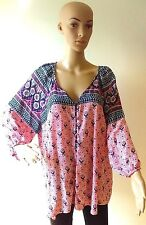 Lucy & Laurel 2X Coral/Navy Floral Button Down Tunic Peasant Top 3/4 Sleeve