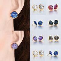 12mm Rose Gold False Druzy Ear Stud Earrings Fashion Women Boho Jewelry Gift