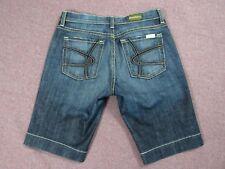 "David Kahn Stretch Blue Denim Bermuda Distressed Jean Shorts Womens Sz 30 X 11"""