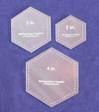 "Laser Cut Quilt Templates- 3 Piece Hexagon - 2"", 3"", 4"" Clear Acrylic 1/8"""