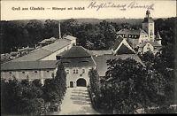Glaubitz Sachsen alte Postkarte ~1910 Dorf Panorama Ansicht Schloss Rittergut