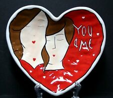 Bella Casa by Ganz Heart Shaped Dish Plate Porcelain You and Me Valentine's Day