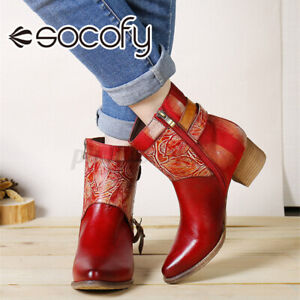 SOCOFY Womens Genuine Leather Short Boots Pointed Toe Elegant Chunky Shoes Bloc