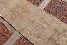 BROWN ANTIQUE Oushak Runner 3x12'5 Turkey Runner Wool Handwoven Rustic Decor Rug