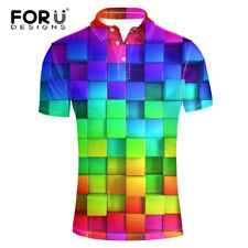 Mens Cool Shirt Short Sleeve Fashion Western Classic Golf  Shirts Loose Fit Tops
