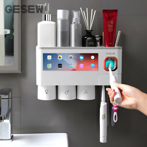 Magnetic Adsorption Inverted Toothbrush Holder Automatic Toothpaste Dispenser