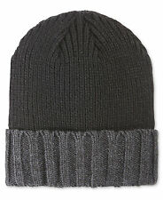 $200 ALFANI Men GRAY BLACK ACRYLIC CUFFED WINTER WARM CAP HAT BEANIE ONE SIZE