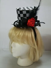 Checkered Mini Top Hat w/ Rose Alice in Wonderland Burlesque Cosplay Adult Size
