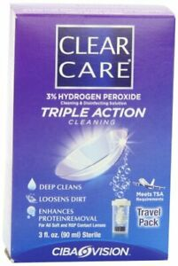 Clear Care Cleaning & Disinfection Solution Travel Pack 3 Fl Oz 90 Ml Each