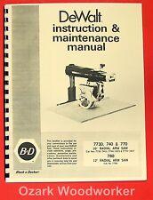 """DEWALT 7780, 7770, 7740 10"""" & 12"""" Radial Arm Saw Instruction Manual 0258"""