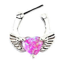 PINK OPAL HEART SEPTUM CLICKER Nose Ring Daith Hanger Angel Wing Love Piercing