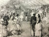 1856 Antique Print Russian Ball Royal Coronation Moscow Russia