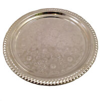 Teetablett ohne Randmuster Silber 33cm
