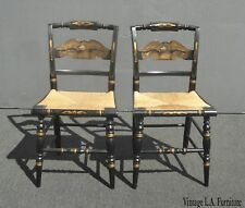 Pair of Vintage French Country Black Eagle Chairs w Rye Seats by L. Hitchcock