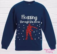 Boys CHRISTMAS JUMPER FLOSSING THROUGH THE SNOW Sweatshirt outfit Gift GIRL KIDS