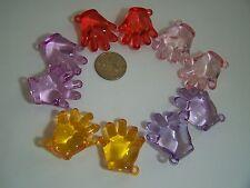 12 pcs Adorable Multi-Color Puffy Hands Acrylic Drop Beads Pendants