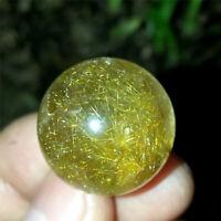 12g 20mm Clear Healing Sphere Natural Golden Hair Rutilated Quartz Crystal Ball