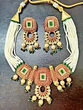 Indian Pakistani Bollywood Meenakari Kundan Pearl Necklace Earrings Gold Plated