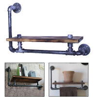 Industrial Retro Wall Mounted Pipe Rack Shelf Shelves Storage Hanging Holder