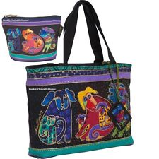 Laurel Burch Dancing Dogs Doggies Medium Small Tote Hand Bag Makeup Pouch New