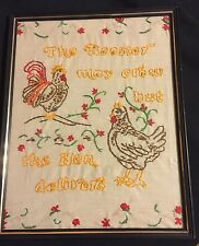 Rooster May Crow But The Hen Delivers VTG 1983 Embroidery Framed 11 X 14""