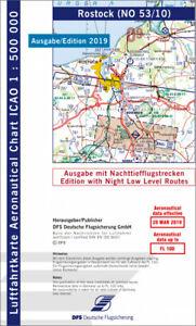 ICAO-Karte 2019 Nachttiefflugstrecken mit Folie Blatt Rostock DFS