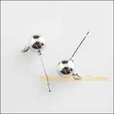 16Pcs Dull Silver Plated Round Ball Wire Earrings Hooks Findings 5x16mm