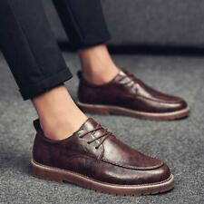Retro Men Faux Leather Outdoor Lace Up Casual Business Dress Shoes British Style