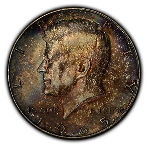 1965 50c Kennedy Half Dollar - 40% Clad Silver - Deep Colorful Toning - F2500
