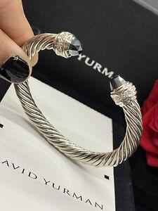 David Yurman Hematite & Diamonds 7mm Cable Classic Bracelet SiZe Medium