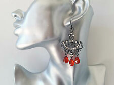 Gorgeous black hematite & AB diamante - red bead filigree drop earrings * NEW