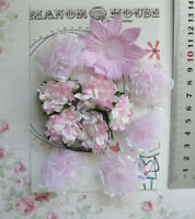 PINK LILAC ORCHID Mix - 12 Flowers 6 Styles 5 Tones PAPER & SILK 25-55mm VD1