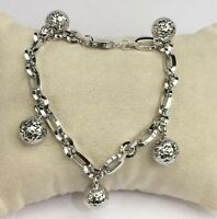 18k Solid White Gold Balls Charms Italy Bracelet, 7.25 Inches, 9.96 grams