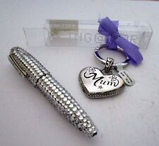 "SILVER HEART SHAPED ""MUM"" KEYRING & DIAMANTE BALLPOINT PEN SET BIRTHDAY GIFT BN"