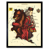 Lancaster 1869 Pictorial Map Russia Bear Tsar Alexander Wall Art Print Framed