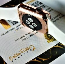 18ct Rose Plated 38MM Apple Watch 18K Rose Sports Band Strap Gift Boxed 24K