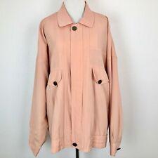 Vintage Pierre Balmain Pink Peach Bomber Jacket Pockets Buttons Zipper XL