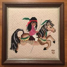 Finished Needlepoint MERRY LITTLE INDIAN Wool Ted DeGrazia FRAMED Award Winner