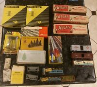 Vintage HO Scale Train Lot of Track Switches TREES POLES SPIKES 100+ PEOPLE NICE