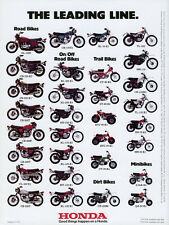 1975 HONDA LINE UP FULL LINE VINTAGE MOTORCYCLE POSTER PRINT 36x27