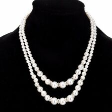 Collar Bib Crystal Pearl Necklace Fashion Women Charm Chain Pendant Statement
