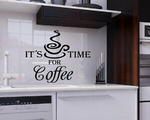 """""""Its Time For Coffee"""" Vinyl Wall Quote Kitchen Sign Decal Sticker easy apply diy"""
