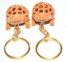 Wooden Frog  Keychain Handmade Statue Painted Figurine for 2 pes Sat RGA1
