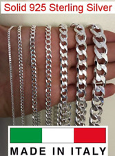 925 Sterling Silver Solid Italian Curb Cuban Link Chain Necklace