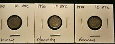 Lot of 3 Norway 10 Ore Coins, See Picture for Exact Coins you are purchasing. #8