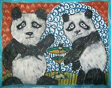 PANDA BEAR Drinking a Martini Pandas Collectible Art Print 8 x 10 Signed KSAMS