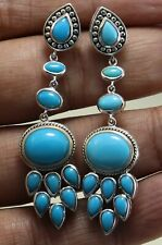 Sleeping beauty Turquoise design stud/post earring women silver 925 sterling
