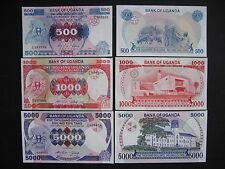 Uganda 500 + 1000 + 5000 shillings 1986 (p24b + p25 + p26) UNC