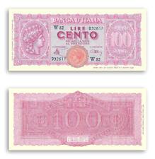 RIPROD 100 LIRE TURRITA BANCONOTA LUOGOTENENZA LIRA ITALIANA MONETA NOTE FDS UNC