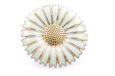 Precioso ajustable esmalte blanco flor margarita anillo retro